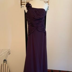David's Bridal One Shoulder Purple Long Dress